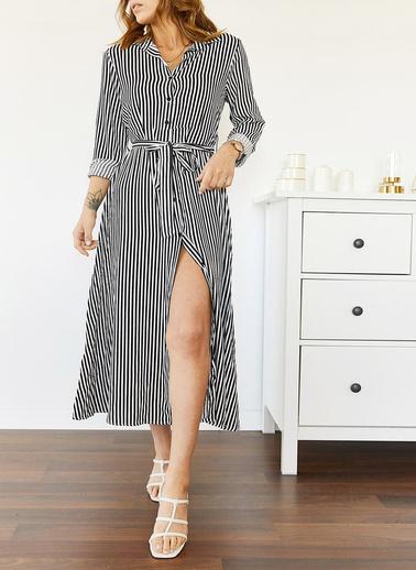 XHAN Çizgili Gömlek Elbise 0Yxk6-43504-04 Siyah